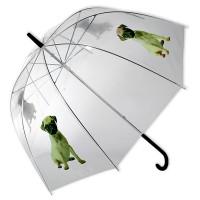 Permatomas skėtis su šuniuku