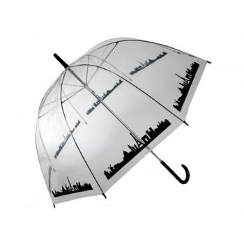 Permatomas didelis skėtis (su miesto siluetu)