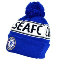 Chelsea F.C. žieminė kepurė su bumbulu ir tekstu (Mėlyna)