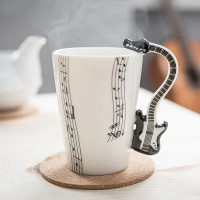 Mug with electric guitar handle (Black)