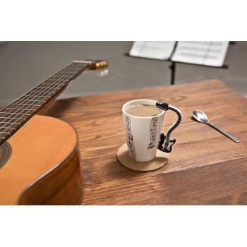 Puodelis su elektrinės gitaros formos rankena (Juoda)