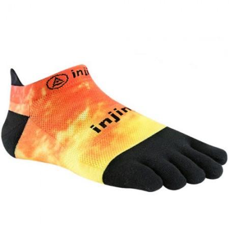 Injinji RUN 2.0 Lightweight No-Show penkių pirštų kojinės (Oranžinė/Juoda)