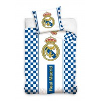 Real Madrid CF Single Cotton Duvet Cover Set 160x200 (Checkered sides)