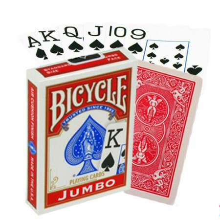 Bicycle Rider Jumbo pokerio kortos (Raudonos)