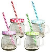 Stiklinė su dangteliu ir šiaudeliu (įvairių spalvų)