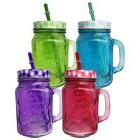 Spalvota stiklinė su dangteliu ir šiaudeliu (įvairių spalvų)