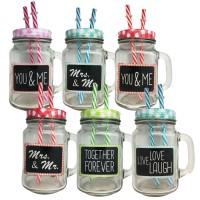 Stiklinė su užrašu ir šiaudeliais (įvairių spalvų)