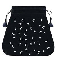 Moon And Stars velvetinis juodas maišelis kortoms