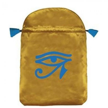 Horus Eye velvetinis geltonas maišelis kortoms