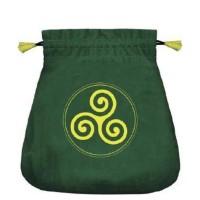 Celtic Triskel satininis žalias maišelis kortoms