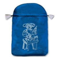 Marseille satininis mėlynas maišelis kortoms
