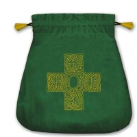 Celtic Cross satininis žalias maišelis kortoms