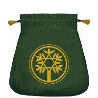 Celtic Tree satininis žalias maišelis kortoms