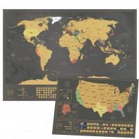 Nutrinamas pasaulio žemėlapis (Juodas)